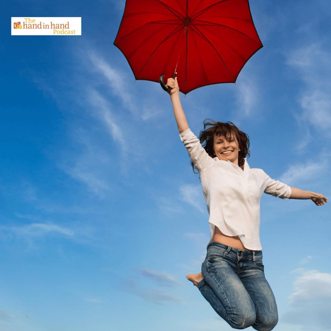 mom flying away with umbrella